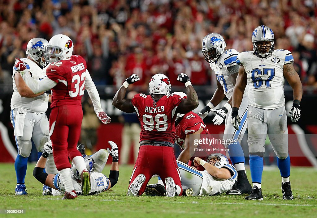 Defensive end Frostee Rucker #98 of the Arizona Cardinals reacts to a tackle during the NFL game against the Detroit Lions at the University of Phoenix Stadium on November 16, 2014 in Glendale, Arizona. The Cardinals defeated the Lions 14-6.