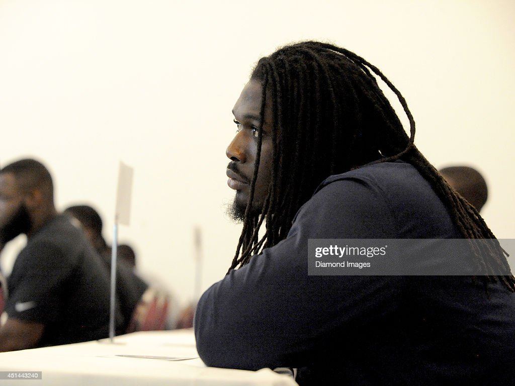 Defensive end Jadaeveon Clowney of the Houston Texans listens to an introductory speech prior to a visit of the Pro Football Hall of Fame as part of the 2014 NFL Rookie Symposium in Canton, Ohio on June 28, 2014.
