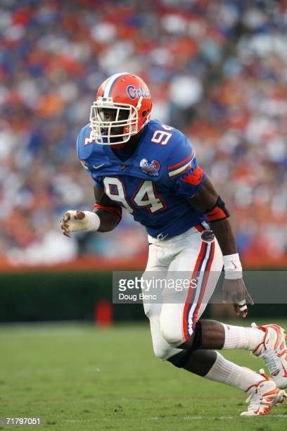 Defensive end Jarvis Moss of the University of Florida Gators rushes during the game against the Southern Miss Golden Eagles at Ben Hill Griffin...