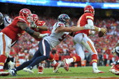 Defensive end JJ Watt of the Houston Texans sacks quarterback Alex Smith of the Kansas City Chiefs during the second half on October 20 2013 at...