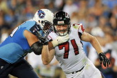 Defensive end Kroy Biermann of the Atlanta Falcons in action during a NFL preseason game against the Tennessee Titans at LP Field on August 24 2013...