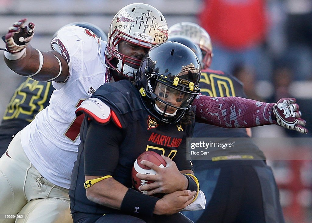 Defensive end Mario Edwards Jr. #15 of the Florida State Seminoles sacks quarterback Shawn Petty #31 of the Maryland Terrapins during the fourth quarter of the Seminoles 41-14 win at Byrd Stadium on November 17, 2012 in College Park, Maryland.