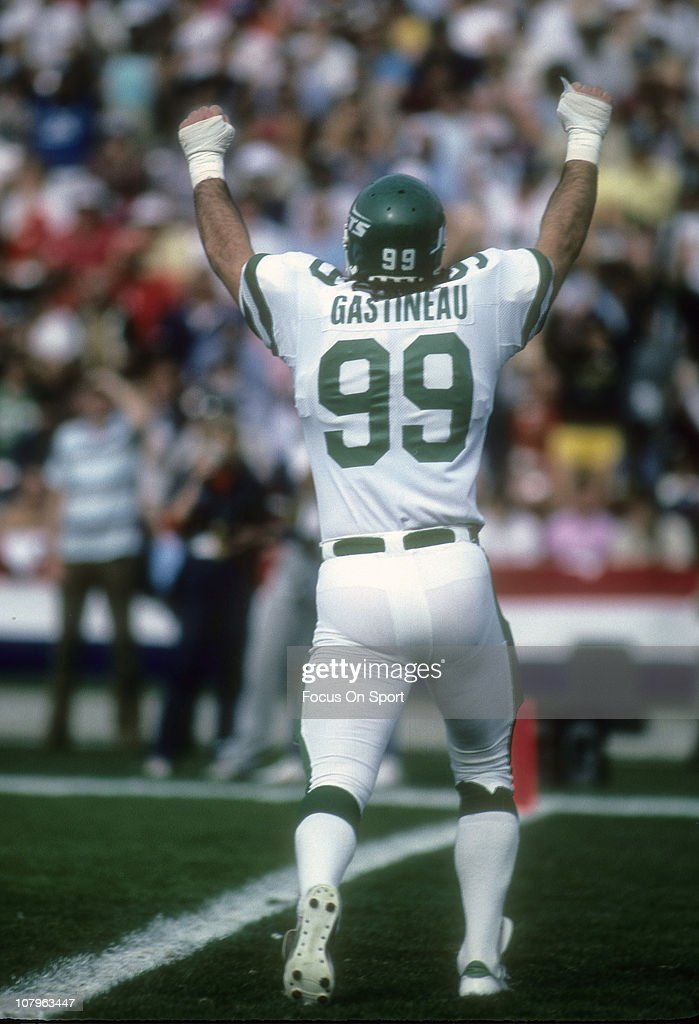 d5b876e54 ... Defensive end Mark Gastineau 99 of the New York Jets throws his hands  in the ...
