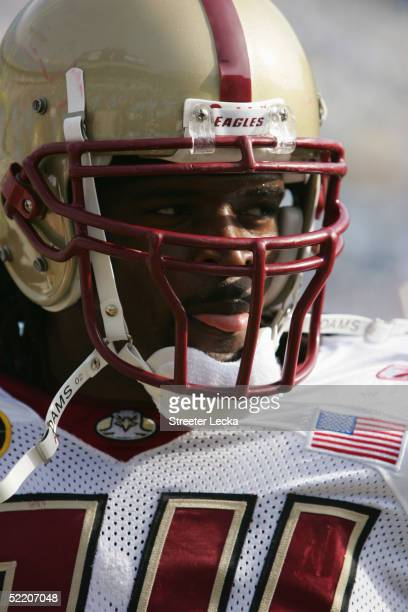 Defensive end Mathias Kiwanuka of the Boston College Golden Eagles is on the field during the Continental Tire Bowl against the University of North...