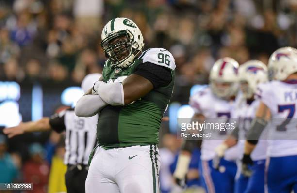 Defensive end Muhammad Wilkerson of the New York Jets celebrates after he sacks quarterback EJ Manuel of the Buffalo Bills in the 2nd half of the...