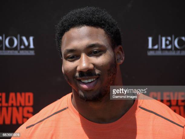 Defensive end Myles Garrett of the Cleveland Browns answers questions from the media during a press conference prior to a rookie mini camp practice...