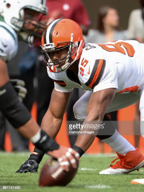 Defensive end Myles Garrett of the Cleveland Browns awaits the snap from his position in the first quarter of a game on October 8 2017 against the...