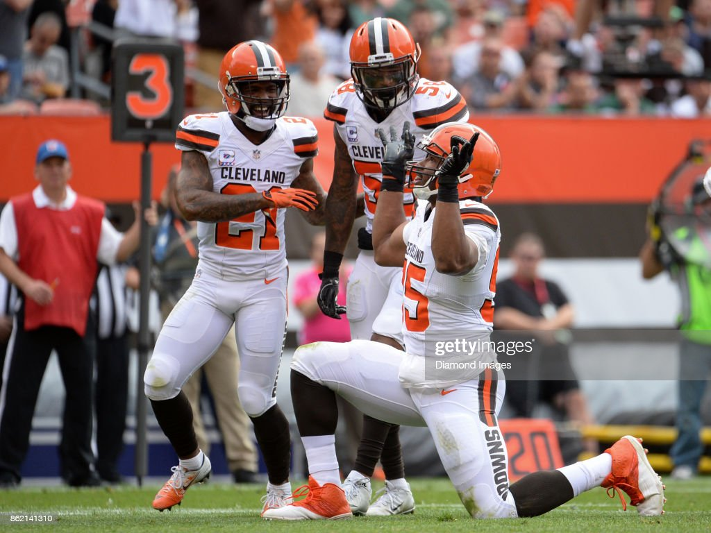 Defensive end Myles Garrett #95 of the Cleveland Browns celebrates a sack in the second quarter of a game on October 8, 2017 against the New York Jets at FirstEnergy Stadium in Cleveland, Ohio. New York won 17-14.