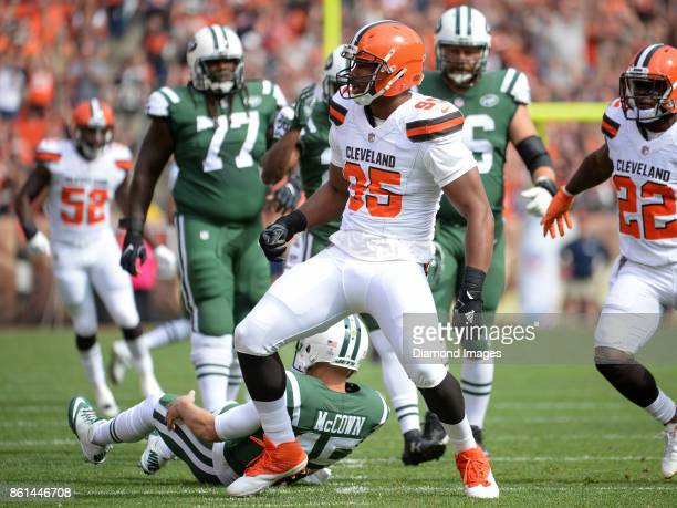 Defensive end Myles Garrett of the Cleveland Browns celebrates after sacking quarterback Josh McCown of the New York Jets in the first quarter of a...