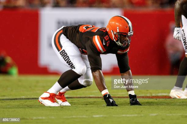 Defensive End Myles Garrett of the Cleveland Browns during the game against the Tampa Bay Buccaneers at Raymond James Stadium on August 26 2017 in...