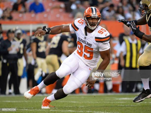 Defensive end Myles Garrett of the Cleveland Browns fights off the block of left tackle Khalif Barnes of the New Orleans Saints in the first quarter...