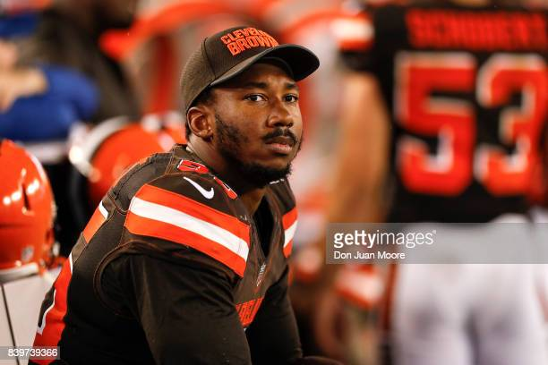 Defensive End Myles Garrett of the Cleveland Browns on the sidelines during the game against the Tampa Bay Buccaneers at Raymond James Stadium on...