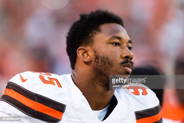 Defensive end Myles Garrett of the Cleveland Browns prior to a preseason game against the New Orleans Saints at FirstEnergy Stadium on August 10 2017...