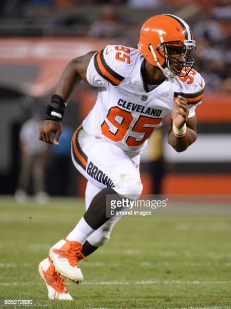 Defensive end Myles Garrett of the Cleveland Browns rushes off the line of scrimmage in the first quarter of a preseason game on August 10 2017...