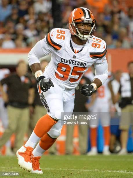 Defensive end Myles Garrett of the Cleveland Browns rushes off the line of scrimmage in the first quarter of a preseason game on April 27 2017...