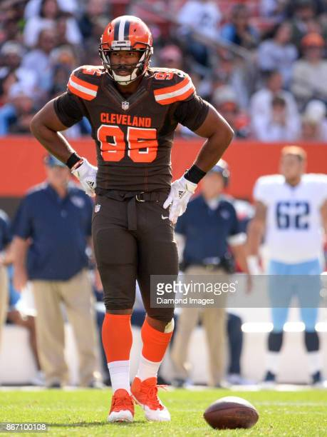 Defensive end Myles Garrett of the Cleveland Browns stands on the field in the second quarter of a game on October 22 2017 against the Tennessee...
