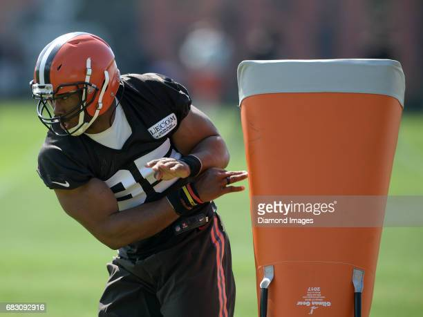 Defensive end Myles Garrett of the Cleveland Browns takes part in a drill during a rookie mini camp practice on May 13 2017 at the Cleveland Browns...