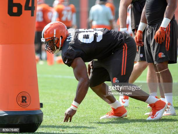 Defensive end Myles Garrett of the Cleveland Browns takes part in a drill during a training camp practice on August 2 2017 at the Cleveland Browns...