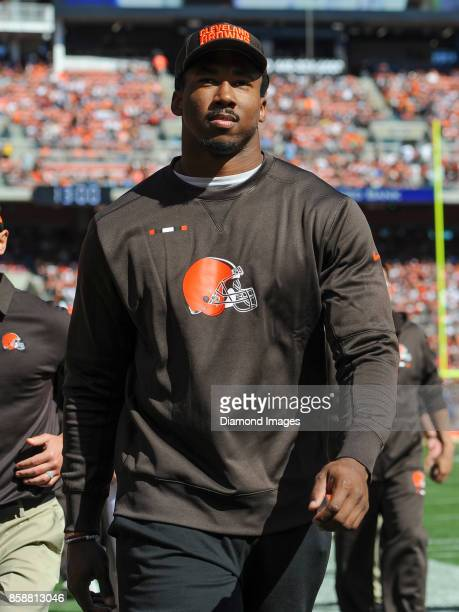Defensive end Myles Garrett of the Cleveland Browns walks off the field for halftime of a game on October 1 2017 against the Cincinnati Bengals at...
