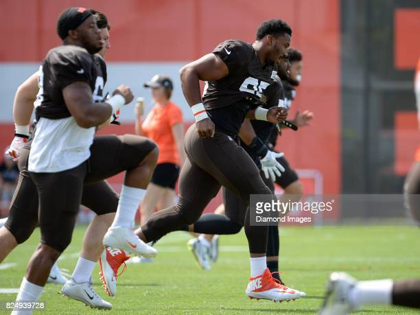 Defensive end Myles Garrett of the Cleveland Browns warms up during a training camp practice on July 29 2017 at the Cleveland Browns training...