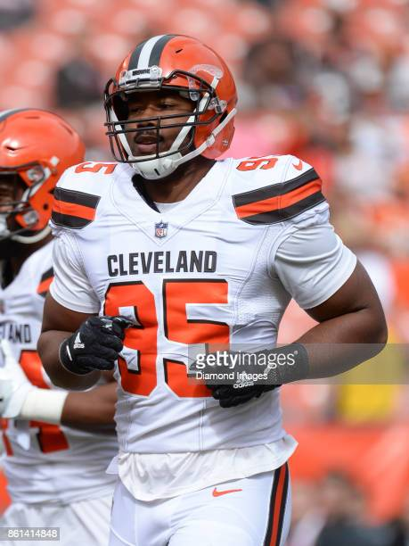 Defensive end Myles Garrett of the Cleveland Browns warms up on the field prior to a game on October 8 2017 against the New York Jets at FirstEnergy...