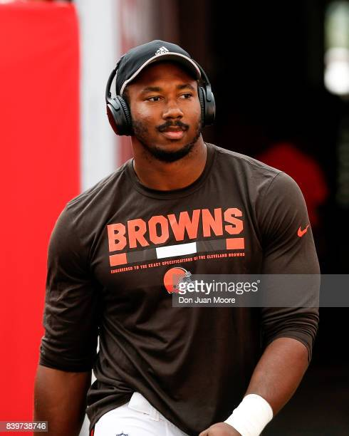 Defensive End Myles Garrett of the Cleveland Browns warmsup before the game against the Tampa Bay Buccaneers at Raymond James Stadium on August 26...