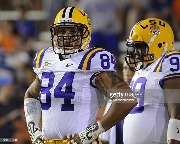 Defensive end Rahim Alem of the LSU Tigers sets for play against the Florida Gators at Ben Hill Griffin Stadium on October 11 2008 in Gainesville...