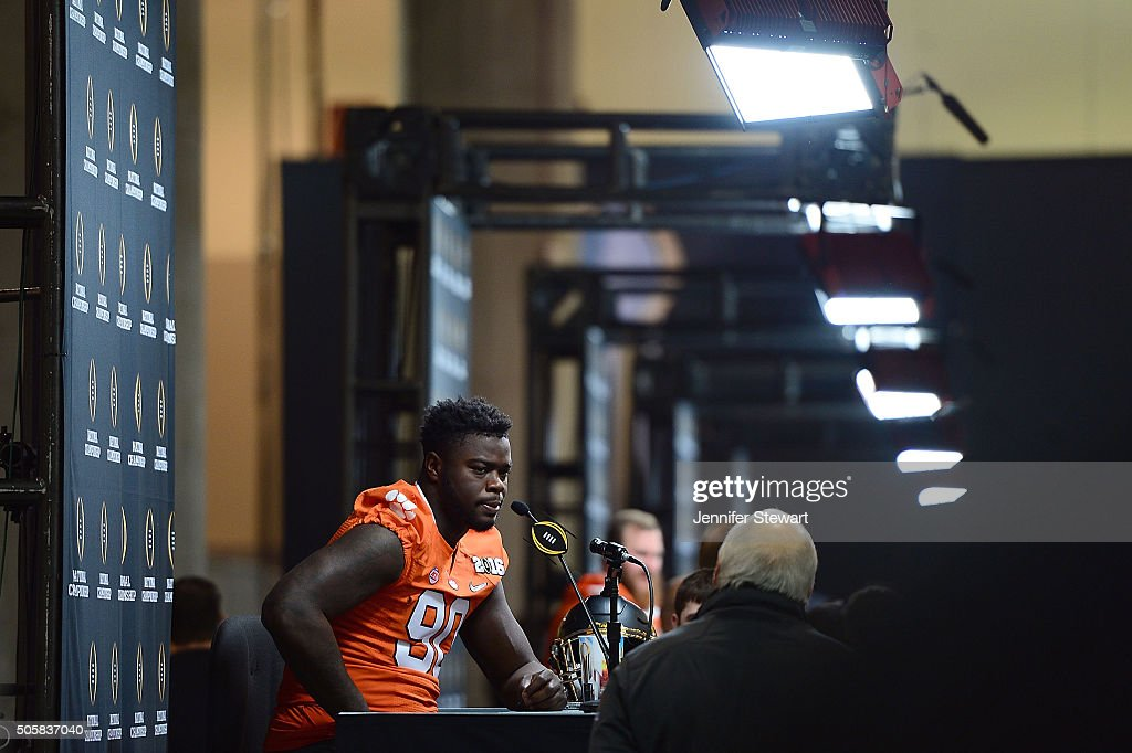 Defensive end Shaq Lawson of the Clemson Tigers addresses the media during Media Day for the College Football Playoff National Championship at...