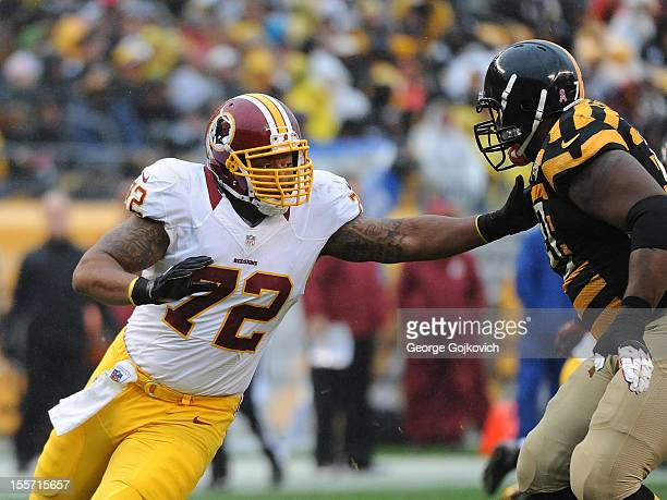 Defensive end Stephen Bowen of the Washington Redskins pursues the play against offensive tackle Max Starks of the Pittsburgh Steelers during a game...