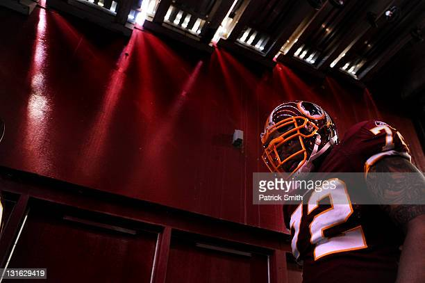Defensive end Stephen Bowen of the Washington Redskins takes the field before playing the San Francisco 49ers at FedExField on November 6 2011 in...