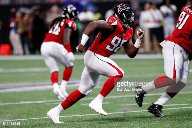 Defensive End Takkarist McKinley of the Atlanta Falcons during a preseason game against the Jacksonville Jaguars at MercedesBenz Stadium on August 31...