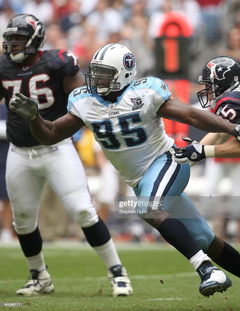 Defensive end William Hayes #95 of the Tennessee Titans rushes during the game with the Houston Texans on December 14, 2008 at Reliant Stadium in Houston, Texas.
