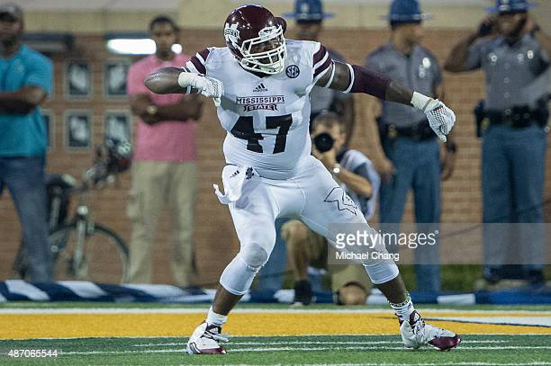 Defensive lineman AJ Jefferson of the Mississippi State Bulldogs celebrates after a big play on September 5 2015 at MM Roberts Stadium in Hattiesburg...