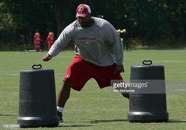 Defensive lineman Albert Haynesworth of the Washington Redskins works out following practice on the second day of training camp July 30 2010 in...