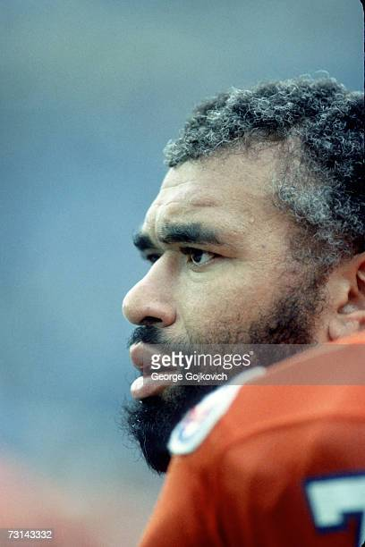 Defensive lineman Barney Chavous of the Denver Broncos on the sideline during a game against the Buffalo Bills at Rich Stadium on October 21 1984 in...
