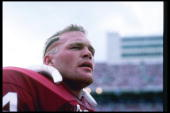 Defensive lineman Brian Bosworth of the Oklahoma Sooners stands on the sidelines during a game in Norman OklahomaMandatory Credit Allsport /Allsport