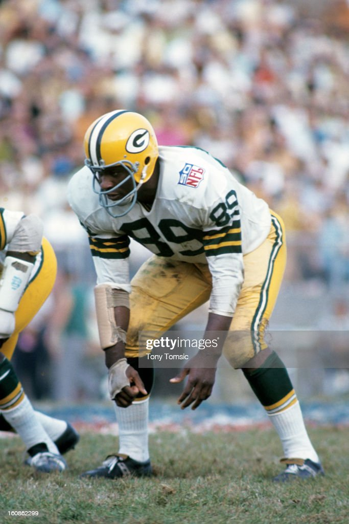 Defensive lineman Dave Robinson of the Green Bay Packers works on fighting through offensive line blocking prior to a game on September 13 1969...
