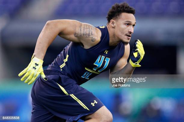 Defensive lineman Derek Rivers of Youngstown State participates in a drill during day five of the NFL Combine at Lucas Oil Stadium on March 5 2017 in...