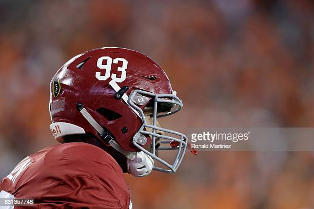 Defensive lineman Jonathan Allen of the Alabama Crimson Tide looks on before taking on the Clemson Tigers in the 2017 College Football Playoff...