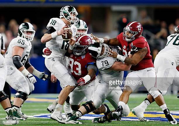 Defensive lineman Jonathan Allen of the Alabama Crimson Tide sacks quarterback Connor Cook of the Michigan State Spartans in the second quarter...