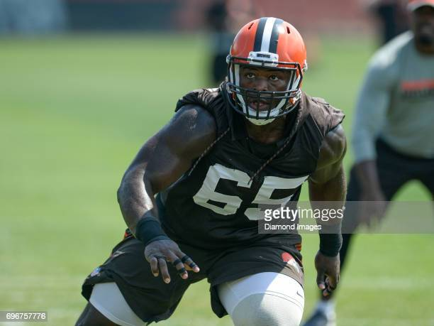Defensive lineman Larry Ogunjobi of the Cleveland Browns takes part in a drill during a veteran mini camp practice on June 14 2017 at the Cleveland...