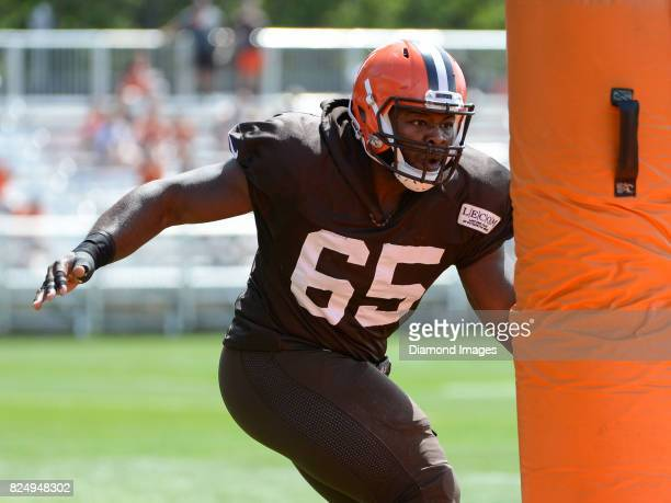 Defensive lineman Larry Ogunjobi of the Cleveland Browns takes part in a drill during a training camp practice on July 29 2017 at the Cleveland...