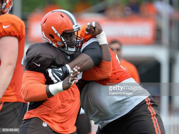 Defensive lineman Larry Ogunjobi of the Cleveland Browns takes part in a drill during a training camp practice on August 2 2017 at the Cleveland...