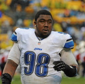 Defensive lineman Nick Fairley of the Detroit Lions looks on from the field after a game against the Pittsburgh Steelers at Heinz Field on November...