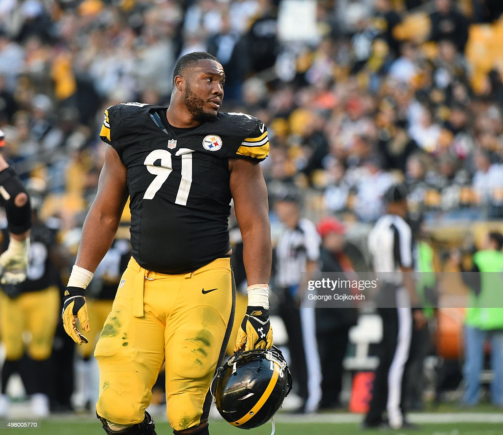 Defensive lineman <a gi-track='captionPersonalityLinkClicked' href=/galleries/search?phrase=Stephon+Tuitt&family=editorial&specificpeople=8563449 ng-click='$event.stopPropagation()'>Stephon Tuitt</a> #91 of the Pittsburgh Steelers looks on from the field during a game against the Cleveland Browns at Heinz Field on November 15, 2015 in Pittsburgh, Pennsylvania. The Steelers defeated the Browns 30-9.