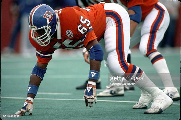 Defensive lineman Walt Bowyer of the Denver Broncos looks on from the field during a game against the Buffalo Bills at Rich Stadium on October 21...