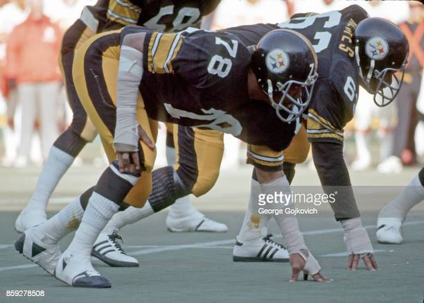 Defensive linemen Dwight White and Ernie Holmes of the Pittsburgh Steelers look on from the line of scrimmage during a game against the Tampa Bay...
