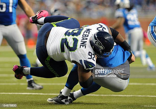 Defensive tackle Brandon Mebane of the Seattle Seahawks sacks quarterback Matthew Stafford of the Detroit Lions October 28 2012 at Ford Field in...