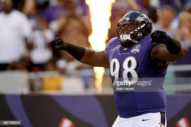 Defensive tackle Brandon Williams of the Baltimore Ravens is introduced prior to the start of a preseason game against the Washington Redskins at MT...