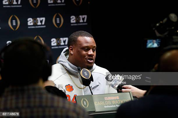 Defensive tackle Carlos Watkins of the Clemson Tigers during the College Football Playoff National Championship Media Day on January 7 2017 at Amalie...
